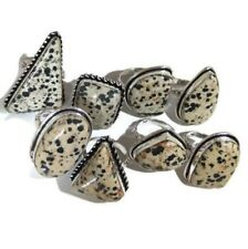 Designer Lot !! 20 PCs. DALMATION JASPER 925 Sterling Silver Plated Ring Jewelry