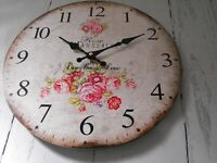 FRENCH COUNTRY STYLE WALL CLOCK  SHABBY CHIC KITCHEN LOUNGE PINK FLORAL CLOCK