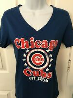 Chicago Cubs Womens 5th & Ocean Distressed V-Neck T-Shirt - Large/Med/Small  NWT