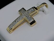 Diamond Cross Pendant Ladies 10K Yellow Gold Pave Round Cut Charm 0.14 Tcw.