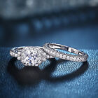 Halo White Aaaa Cz 925 Sterling Silver Wedding Engagement Ring Bridal Set 5-12