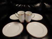 Royal Victoria Fine Bone China Coffee 2 Teacup Mugs & 4 Salad Plates Gold Trim