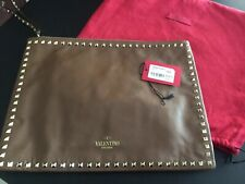 Valentino Large Leather Rockstud Clutch /Case In Taupe Barely Used