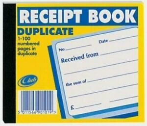 Club Duplicate Receipt Book With Carbon Sheet 125mm x 105mm. 1-100 Numbered