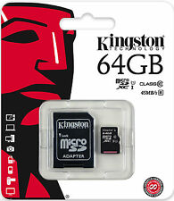 KINGSTON 64GB Micro SD SDHC/SDXC CLASSE 10 memory card TF 45MB/S R con adattatore