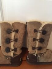 UGG Australia Womens Tall Bailey Button Triplet Bomber Leather Boots 7