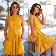 Women Summer Sleeveless Evening Party Cocktail Short Mini Dress Medium Length