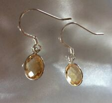 4.3 Ct, Citrine Drop, Dangle Earrings In Sterling Silver With Hook Fastener