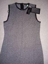 NWT $1290 Ralph Lauren 100% CASHMERE LEATHER trim BLACK LABEL tweed dress L 8-10