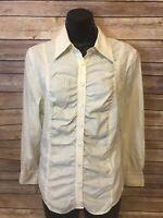 Womens Talbots Shirt Size 10 White Long Sleeve Blouse Button Down Top Striped