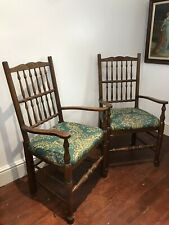 Fine Pair Victorian Spindle Back Clun Country Armchairs
