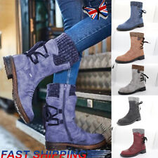 Womens Mid Calf Boots Flat Low Heels Back Lace up Winter Warm Stretch Calf Shoes