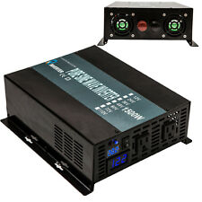 Power Inverter 1500W 24V to 120V Pure Sine Wave Inverter US Plug Solar System