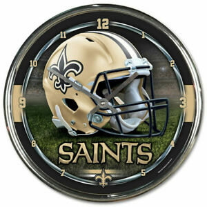 New Orleans Saints 12 Inch CHROME Clock by Wincraft -Perfect for Man Cave,Office