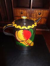 Antique Tin Lamp Oiler/Filler/Small Size Hand Painted