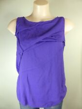 ZARA purple pleated layered Gold zip sleeveless tunic top sz 10