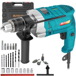 RUYIKA 1100W Electric Rotary Hammer Impact Drill Driver Screwdriver Bit Set Case