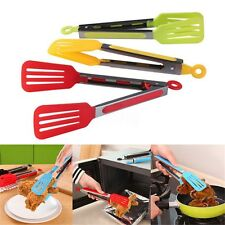 Kitchen Cooking Salad Serving BBQ Tongs Stainless Steel Handle Grilling Tool New