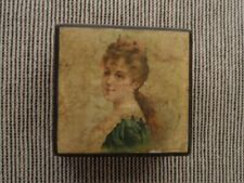 >orig./Stunning! pre-1900 Brook's Glace Thread *WOODEN BOX* with Victorian Woman