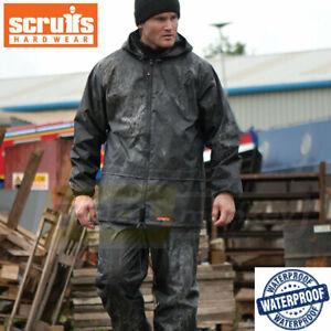 Scruffs Rain Suit Rain Jacket and Waterproof Trousers Black - 2 piece - L or XL