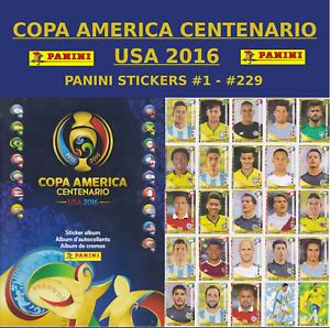 PANINI COPA AMERICA CENTENARIO USA 2016 - STICKERS #1 - #229