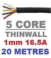 5 Core Auto Cavo 1,0 mm 16.5 AMP AUTO FILO 20 METRI multicore thinwall 1mm 20m