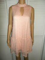 Pretty Xtraordinary size M pink lace choker neck drop waist dress women NWT