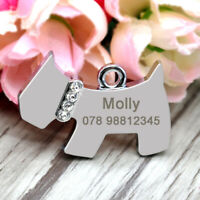 Personalised Dog Shape Tags Disc Disk Stainless Steel Name ID Tags Engraved Free