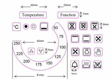 Replacement oven temperature sticker decals 50-250 + Function + 18 oven symbols