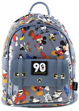 """Mickey Mouse Official 90th Anniversary 10"""" Faux Leather All Over Print Backpack"""