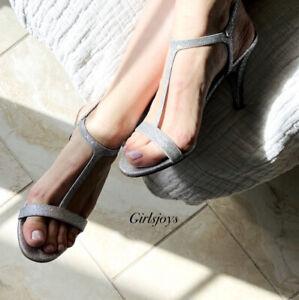 New MICHAEL KORS Women's Sz 7.5 Arden T-Strap Sandals High Heels Silver Shoes