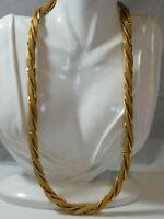 """Vintage signed Goldette Twisted Mesh & Omega Long 25"""" Chain Necklace 9j 52"""
