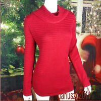 NWT WHITE HOUSE BLACK MARKET COWL NECK SWEATER RED SIZE M