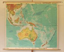 Wandkarte Australien Ozeanien Indonesien Südsee Pazifik 214x191cm ~1965 vintage