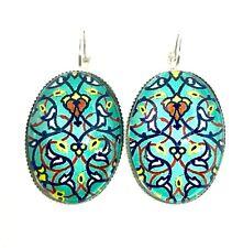 Dangle Drop Earrings Green Women Vintage Geometric Floral