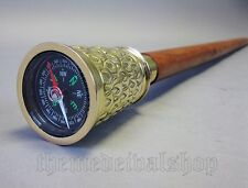 Antique Vintage Walking Stick Hiking with Brass Compass and Secret compartment