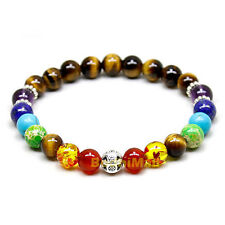 7 Multi Color Chakra Tiger Eye Healing Balance Reiki Prayer Yoga Bracelet