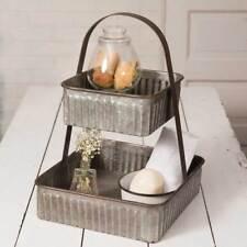 Two Tier Corrugated Square Tray - Farm House Decor - Bathroom Kitchen