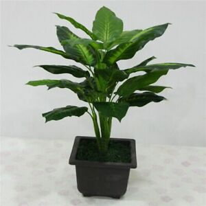 Artificial Plant 25 Leaves Bush Potted Plastic Green Tree Home Garden Decoration
