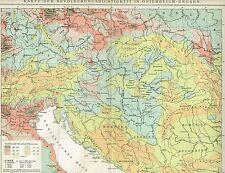 Karte ÖSTERREICH-UNGARN / BEVÖLKERUNGSDICHTE 1894 Original-Graphik