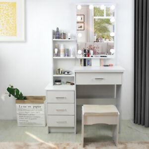 Dressing Vanity Table Set Makeup Lighted Desk with Mirror and Drawer For Bedroom