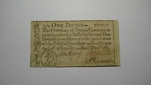 1771 One Pound North Carolina NC Colonial Currency Note Bill £1 Uncirculated!