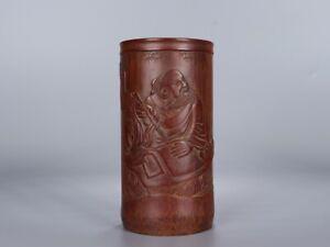 Antique Vintage Brush Pot Carving in Bamboo  H14*7.1cm 139.4g