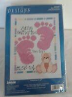 "Janlynn Baby Footprints birth announcement Counted Cross stitch Kit 5"" X 7"""