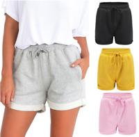 Womens Drawstring Elastic Waist Shorts Activewear Running shorts Roll-hem Pocket