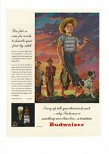 VINTAGE 1946 BUDWEISER BEER BOY WITH DOG CANE POLE FISHING STRAW HAT AD PRINT