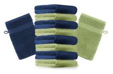 Betz 10er Pack Waschhandschuhe PREMIUM Farbe:Dunkelblau & Apfelgrün Gr:17x21 cm