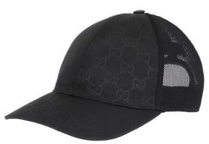 NEW GUCCI BLACK GG GUCCISSIMA TESSUTO NET LINING LOGO BASEBALL CAP HAT  59/L