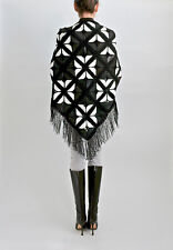 100% Calf Leather Shawl Scarf Wrap with Fringes