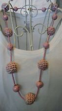 """UNIQUE ANTIQUE 32""""  """"FLAPPER STYLE"""" PINK CROCHET BALLS WITH PINK ACRYLIC BEADS"""